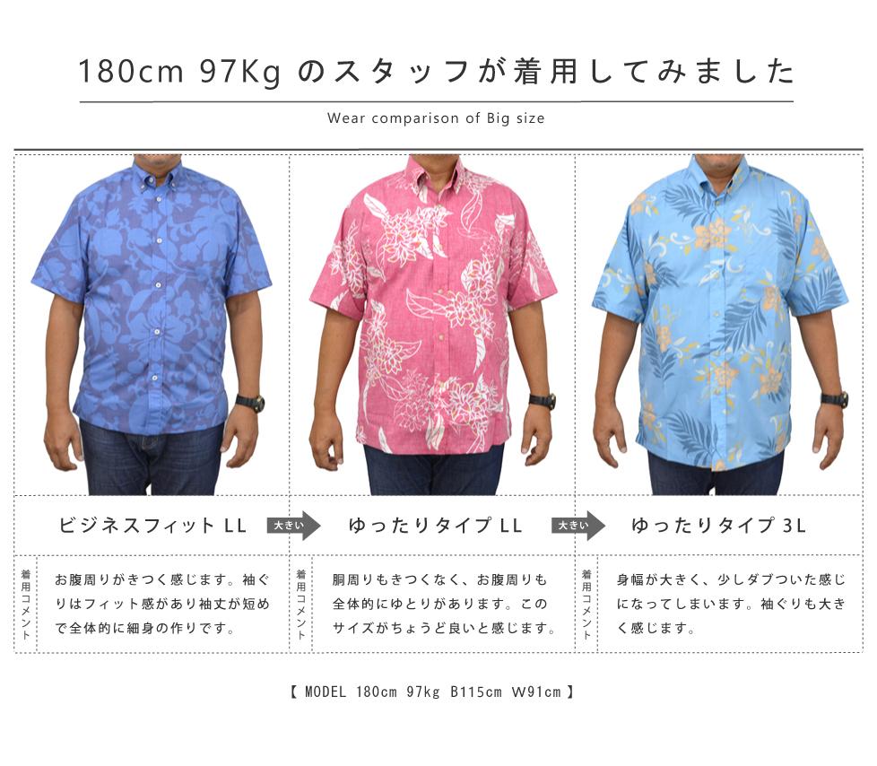かりゆしウェア大きいサイズの着用比較